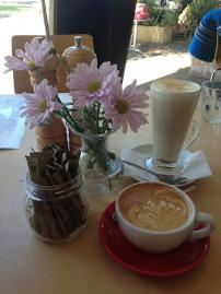 But 1st- Coffee! A skinny flat white and chai latte to start!