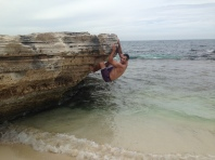 Rock climbing at one of the bays on Rottnest Island. Exercise can happen anywhere at anytime...clearly!